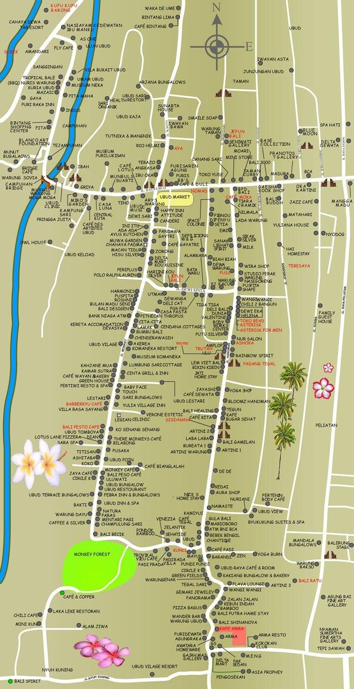 ウブドの観光情報, ウブドの地図