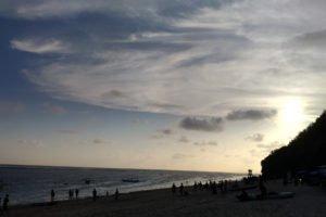 サンセット、夕陽、バリ、ビーチ