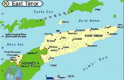 東ティモール地図, インドネシア